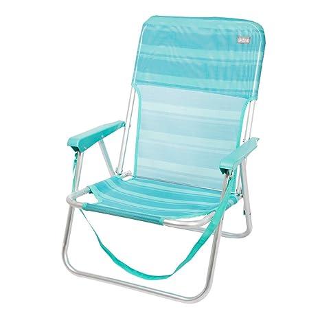 AKTIVE 53958 Silla Plegable Fija Aluminio Beach, 40 x 56 x 70 cm, Azul Claro