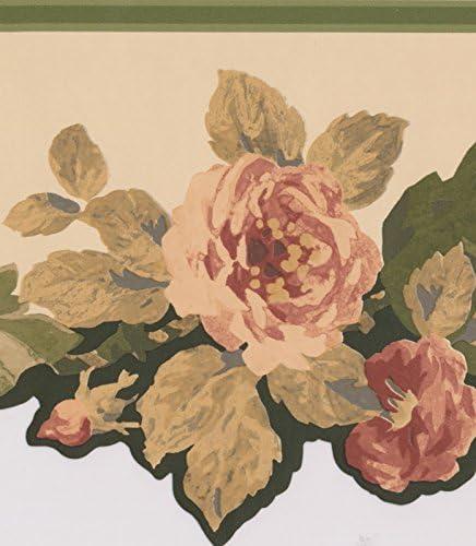 """元のピンクの花のデザイン壁紙キッチンバスルームリビングルームロールのためのボーダー15 'x 8 """""""