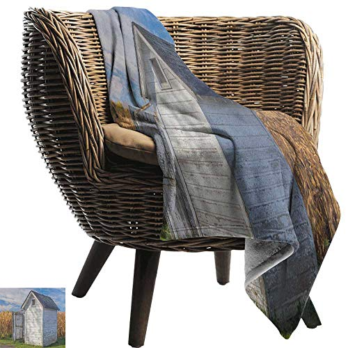 Sunnyhome Outhouse,Super Soft Lightweight Blanket,Country Farm Life Cottage with Wheat and Grass Under Sky Image 70