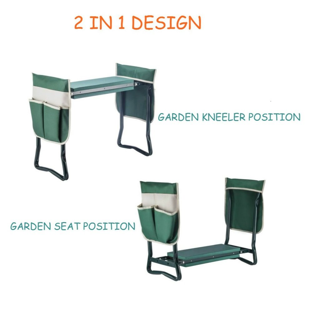 Ideal Choice Product Deep Seat Garden Kneeler and Seat-FoldingGarden Kneeler with 2 Ex-Large Tool Pouches-Gardener Foldable Bench Stool with Kneeling Pad Cushion-Gardening Bench by Ideal Choice Product (Image #2)