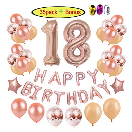 18th Birthday Party Decorations Supplies Kits for Girls/Women/Adults|Elegant Rose Gold Decor Ideas - Rosegold Champagne Latex/Confetti Balloons/Giant Numbers/Star Foil/Happy Bday Letter Balloon Banner -