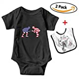 Leopoldson US Wrestling Proud Wrestler Infant Short Sleeve Bodysuits One-Piece with Baby Bib