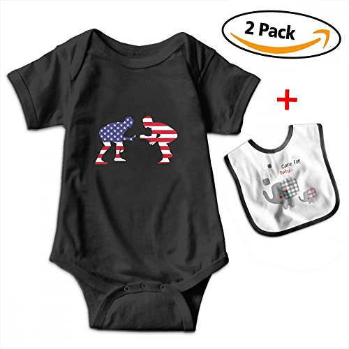 Leopoldson US Wrestling Proud Wrestler Infant Short Sleeve Bodysuits One-Piece with Baby Bib by Leopoldson