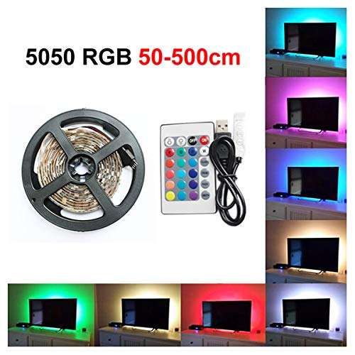 0.5M/1M/2M/3M/4M/5M LED TV Backlight, USB Powered RGB Multi Color Led Light Strip,LED strip lights for TV Desktop PC,TV Backlight Kit with 24 Key Remote for Christmas Decoration [Energy Class A+] ( (5M) GUANGGU