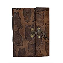 Embossed Leather Blank Journal Personal Diary With Lock Composition Notebook Travel Record Book Sketchbook Owl Motif (Owl4)