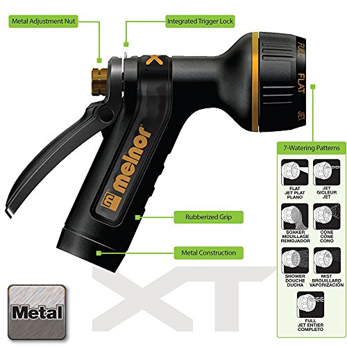 Melnor XT Metal Garden Hose Nozzle; Rear Trigger; 7 Watering Patterns; 100% metal body with fully rubberized slip resistant grip