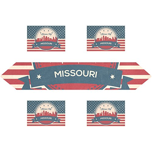 - Vintage American Flag Missouri State Kansas Skyline Rectangle Table Runner 13 x 90 inch with Placemat Table Mat 12 x 18 inch Set of 6, for Wedding, Party, Dinner, Summer & Picnic Country Outdoor Home