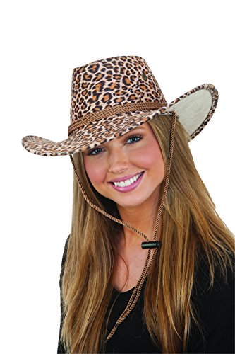 [Leopard Print Faux Suede Outback w/Chin Cord] (Leopard Cowboy Hat)