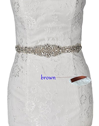 Idepy Women's Wedding Belts Beadings Crystal Rhinestones Bridal Sash for Formal Evening Cocktail Prom Party Dress (Brown Jeweled Dress)