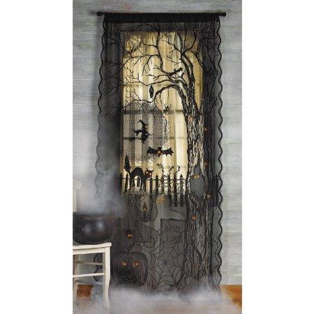 Spooky Lighted Lace Curtain Panel Halloween Holiday & Seasonal fall Decor