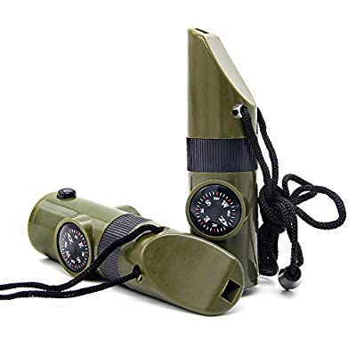 Multifunctional Camping Emergency Whistle,Spider-BX(TM)7 in 1 Survival Guide Tools Kit With Compass Thermometer Magnifier Reflector LED Flashlight For Outdoor Adventures Hiking.Army Green from Spider-BX