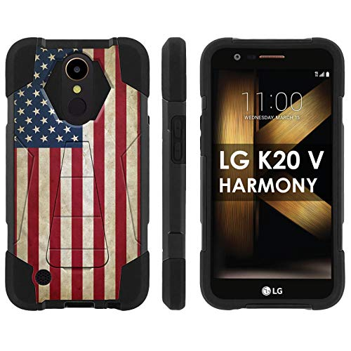 (LG [K20 V/K20 Plus] Harmony Phone Cover Case by [TalkingCase], Black Premium Double-Layer Armor Case, Ruggedized w/Kickstand, Made for LG VS501,Harmony V5,K10 2017 [American Flag])