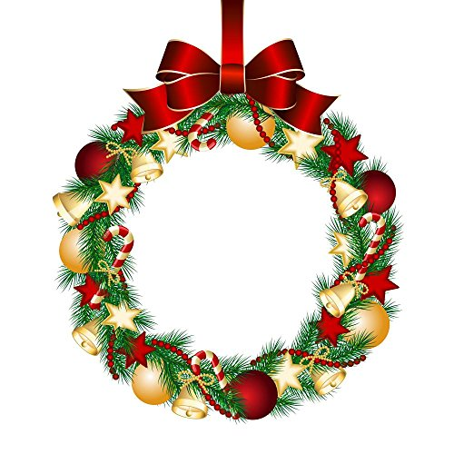 Wallmonkeys Christmas Wreath Decoration Peel and Stick Wall Decals WM190236 (24 in H x 24 in W)