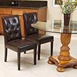 Waldon Brown Leather Dining Chairs w/ Tufted Backrest (Set of 2)