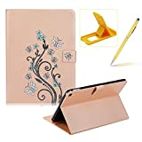 Case for iPad Air 2,Smart Leather Cover for iPad 6,Herzzer Stylish Gold Butterfly Flower Design Wallet Folio Case Full Body PU Leather Protective Stand Cover with Inner Soft Silicone Shell