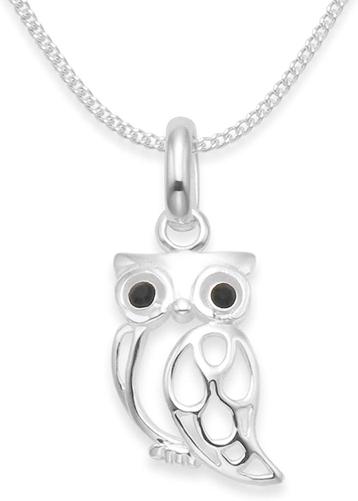 Colgante con cadena, plata de ley, diseño de búho, circonitas negras, 8mm x 14mm