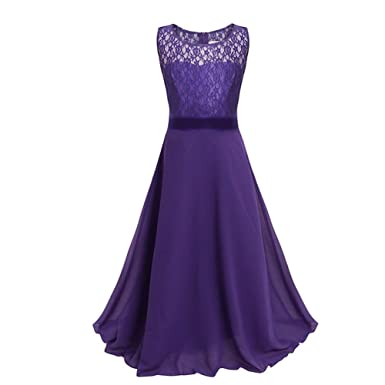 Drasawee Kids Girls Lace Long Chiffon Wedding Party Dress Pageant Prom Dresses Dark Purple 8