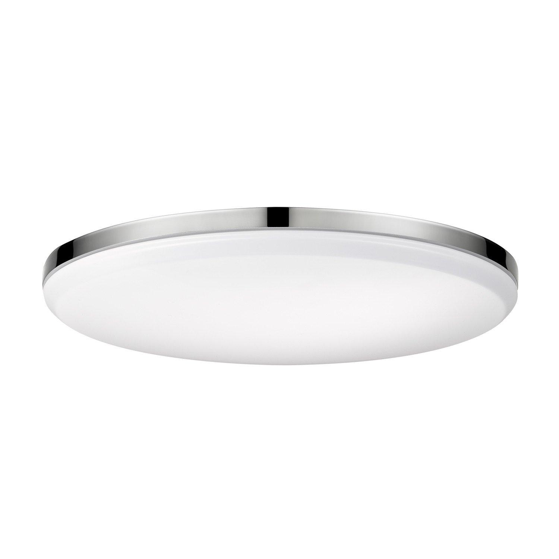 Globe Electric 65584 Ellington LED Integrated Flush Mount Ceiling Light, Chrome Finish, Frosted Shade, Energy Star Certified, Ultra Slim Design