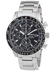 Seiko Men's SSC009 Black Dial Flight Watch