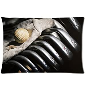 Ackershop custom Personalized pillowcase, golf clubs ball glove close-up pattern pillowcase Zippered Pillow Case 2 Way Cloth (20 X 30 inch one-side printing)