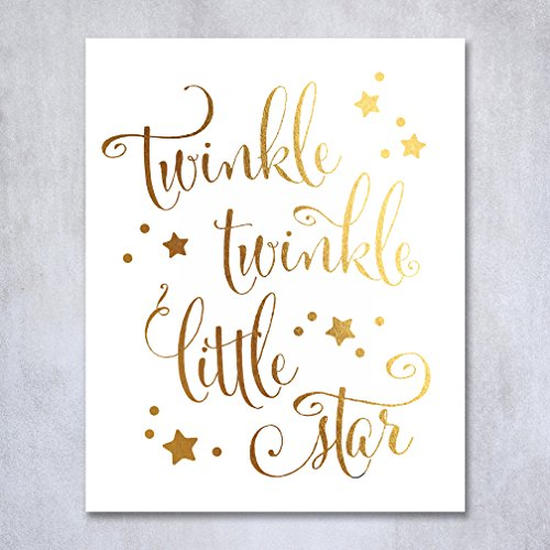 Twinkle Twinkle Little Star Gold Foil Decor Gold Nursery Decor Wall Art Print Poster 5 inches x 7 inches