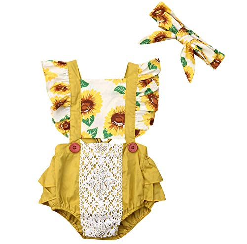 Sunflower Romper for Baby Toddler Clothing Bubble Rompers Flowers Head Wrap Birthday Thanksgiving Outfit (Yellow, 70/0-6M)