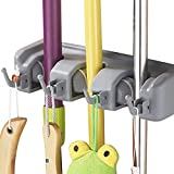 Imixlot Mop Holder Wall Mounted Storage & Organization 3-Positions with 4 Hooks