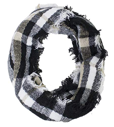 StylesILove Women Stylish Tartan Plaid Infinity Loop Scarf with Fringed Edges (Black)