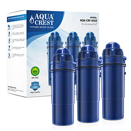 Read About AQUACREST CRF-950Z Pitcher Water Filter, Compatible with Pur Pitchers and Dispensers PPT7...