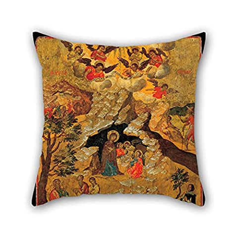 16 X 16 Inch / 40 By 40 Cm Oil Painting Moskos Ilias - The Nativity Throw Pillow Case,two Sides Is Fit For Husband,gf,home,gril Friend,office,dining (Kitchen Fairy Nativity)