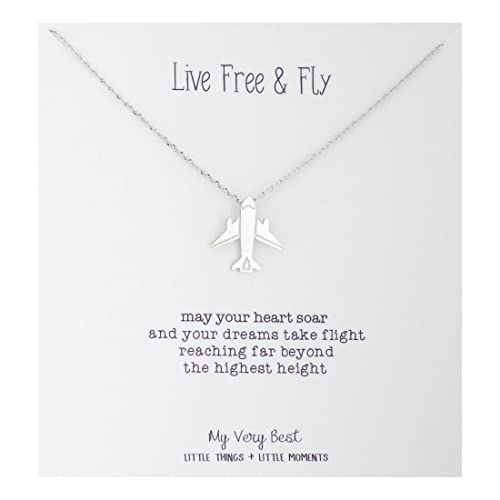 My Very Best Live Free and Fly Airplane Necklace