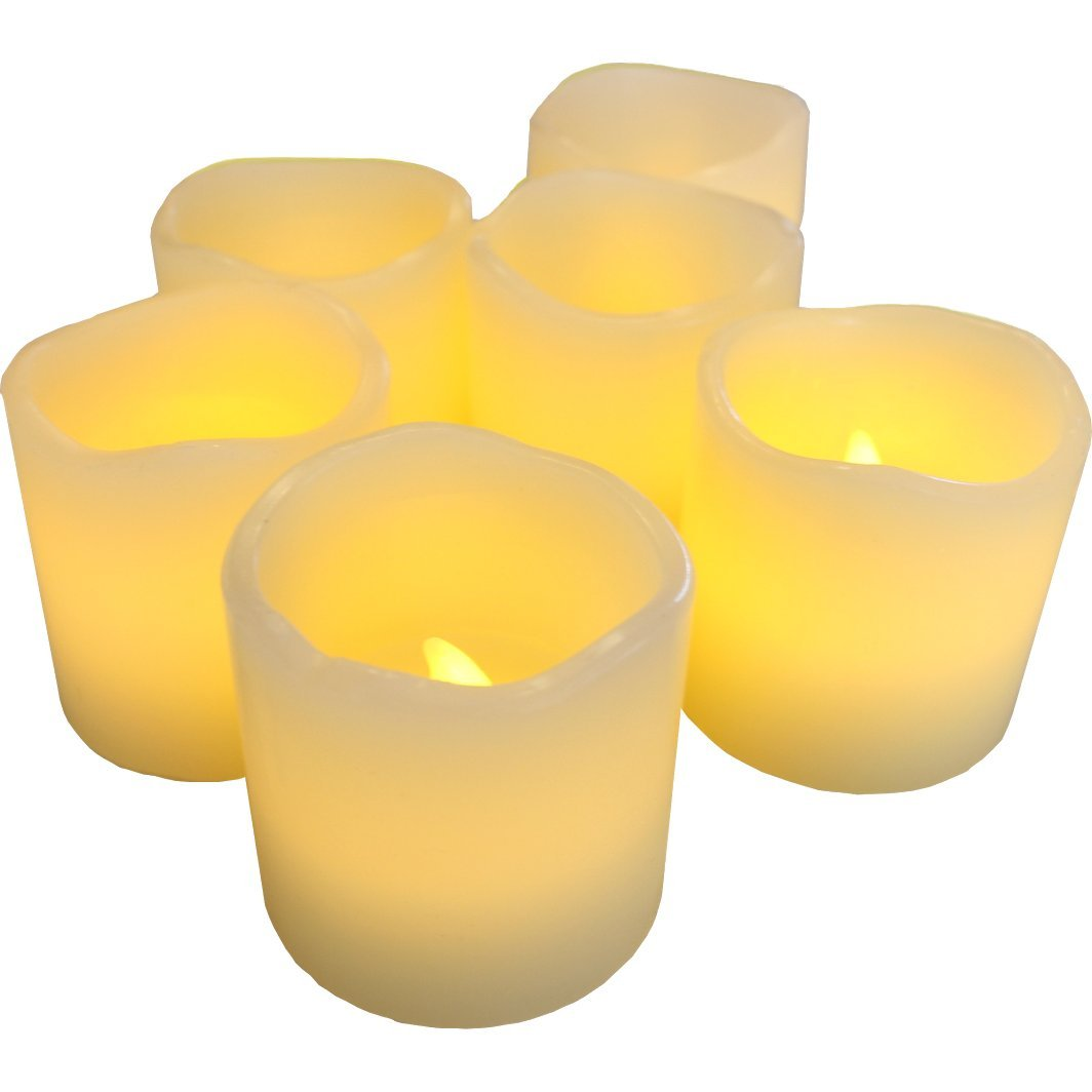 LED Lytes Flameless Candles, Battery Operated Votive Wax and Amber Yellow Flame for Weddings and Parties,  2'' L x 2'' W, Ivory, Set of 6