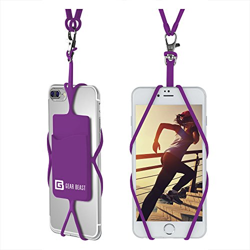 Gear Beast Universal Cell Phone Lanyard Compatible with iPhone, Galaxy & Most Smartphones Includes Phone Case Holder with Card Pocket, Silicone Neck Strap (Cash For Used And Broken Cell Phones)