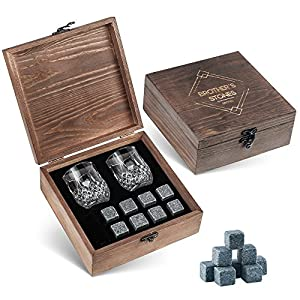 Whiskey Stones Gift Set - 8 Granite Chilling Whisky Rocks + 2 Crystal Shot Glasses in Wooden Box – Premium Bar Accessories for the Best Tasting Beverages by BROTEC