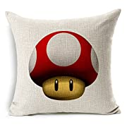 Chicozy Super Mario Luigi Mushroom Corpse Flower Pillow Covers Car Bed Sofa Cushion Cover Throw pillow Square Cotton Linen Pillowcase Decorative Sofa pillow case 18 inch 45cm x 45cm