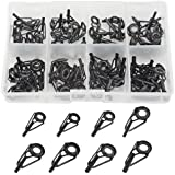 WGCD 80 PCS Fishing Rod Guides Fishing Rod Parts Tip Repair DIY Set Kit 10 Sizes in a Box (Black)