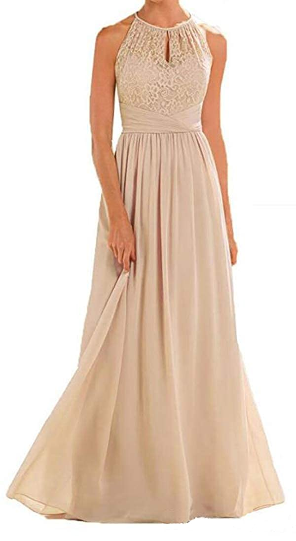 Champagne ONLYCE Sleeveless Halter Wedding Party Dress A Line Long Bridesmaid Dress