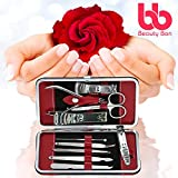 Manicure-Pedicure-Kit-Nail-Clippers-Set-of-10-Stainless-Steel-Manicure-Tools-Kit-with-Portable-Travel-Case-All-in-One-Beauty-Care-Tools-By-Beauty-Bon