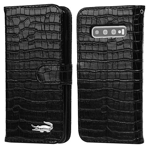 Galaxy S10 Plus Case, Samsung Galaxy S10 Plus Case, Solid Color Crocodile Pattern Design Simple Folio Flip PU Leather with Stand Magnetic Closure Card Slot Shockproof Soft TPU Inner Cover case Black (Solid Pattern Crocodile)