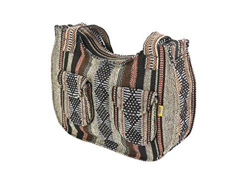 PINZON Ladies Canvas Shoulder Bags Mexican Handbag for Women Hippie Hobo Bohemian Girls Aztec (Light Brown)