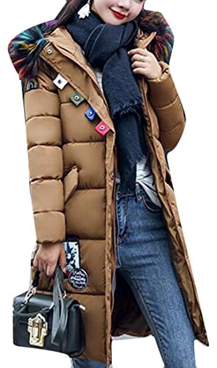 Overcoat Coat Down Collo Donna Pelliccia Gaga Di Parka Da Casual Puffer CpFqw