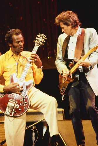 Chuck Berry Memorabilia - Chuck Berry and Keith Richards rock legends rare in concert 24x36 Poster