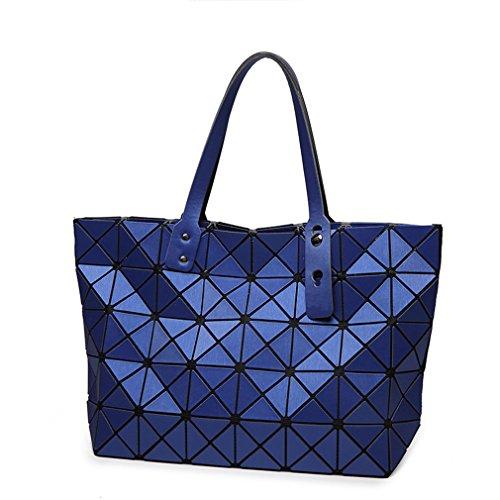 Bag Folding Matt Metal Drawing Shoulder Handbag Bag Fashion Casual Women Tote Handle Bag Geometric Shoulder Bag Blue