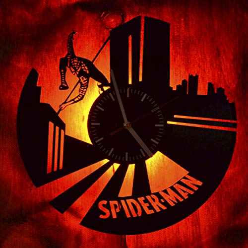Spider-Man Gifts Led Light Vinyl Record Wall Clock - Get Unique Bedroom or livingroom Wall Decor - Gift Ideas for Boys and Girls Perfect Element of The Interior Unique Modern Art