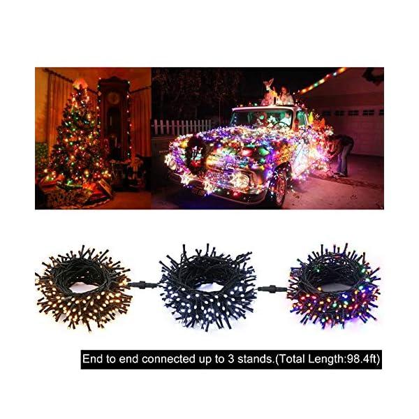 Qedertek Luci Albero di Natale, Catena Luminosa 20M 200 LED, Luci di Natale Esterno ed Interno, Filo verde scuro, Luci Colorate Addobbi Natalizi Esterno, Luci Natalizie da Esterno ed Interno 6 spesavip