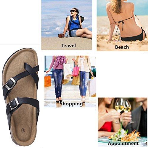 Festooning Womens Slides Flat Sandals Open Toe Double Buckle Strap Cork Sole Comfort Summer Shoes (10 B(M) US, Black) by Festooning (Image #3)