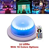 LACGO Chargable 18 LEDs16 Color Options Remote Control Wedding Under Table Light, Waterproof Garden Light, Multicolor Swimming Pool Light for Hotels, Bars, Home Indoor Outdoor (1 PCS)