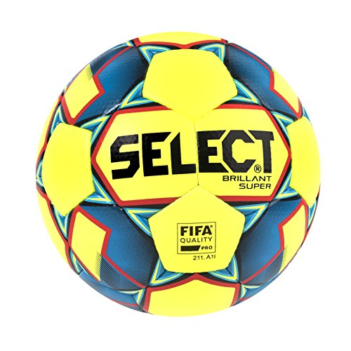 Select Brillant Super Soccer Ball, Yellow/Blue/Red, Size 5