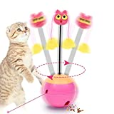 Pawaca Automatic Tumbler Cat Toy, 3 in 1 Cute Interactive Dolls Electric Spinning Ball with Food Dispenser & Light for Cats & Kitten, Rose Red