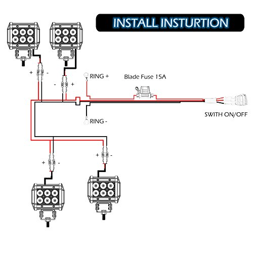 4 Lead LED Spot Light Bar Wiring Harness Kit with ON/OFF ... Off Road Lights Wiring Diagram For Led Spot on